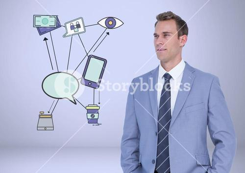 Businessman with business work graphic drawingsl