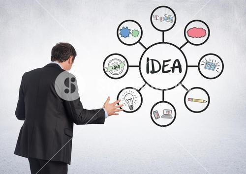Businessman with idea business graphic drawings
