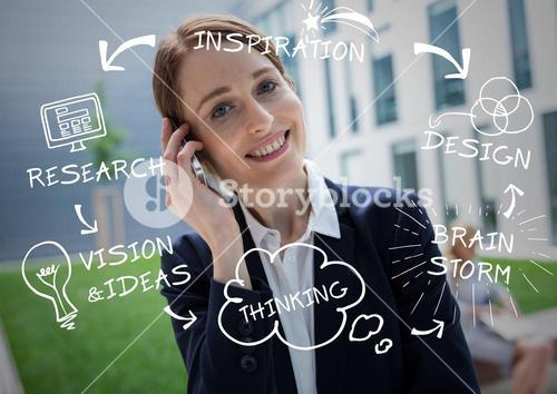 Business woman on phone with white business doodles