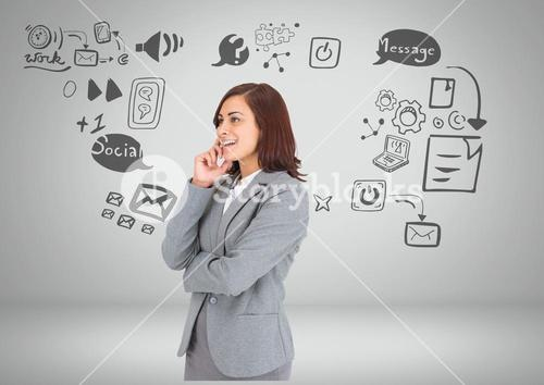 Businesswoman with social media graphic drawings