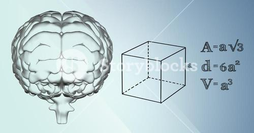 Transparent brain and black math graphics against blue background