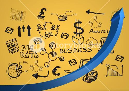 Blue arrow against black business doodles and yellow background