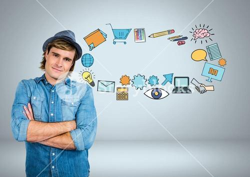 Man with business graphics drawings