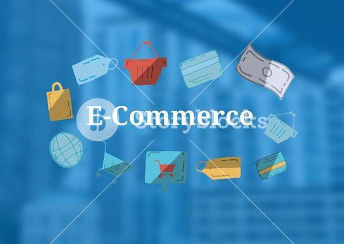 E-Commerce text with drawings graphics