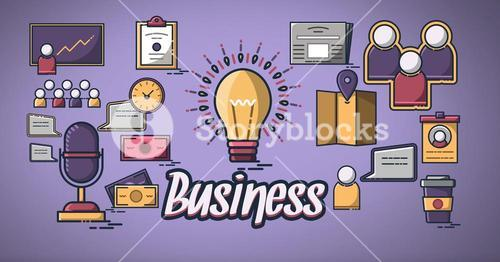 Business people group with business icons graphics