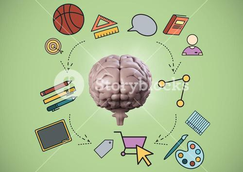 Pink brain with education graphics against green background