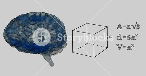 Blue brain and black math graphics against grey background