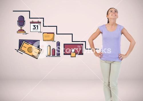 Woman with work graphics drawings