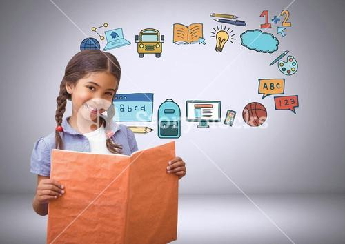Young girl with book and education graphic drawings