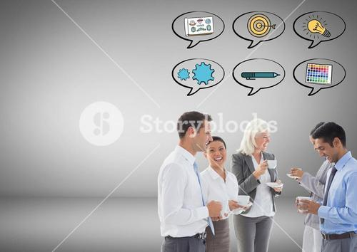 Business people  with speech bubbles targets ideas graphics drawings