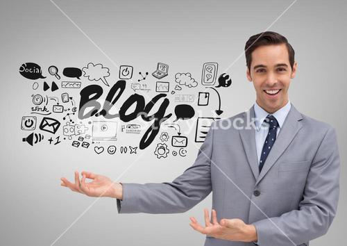 Businessman with blog social media graphics drawings