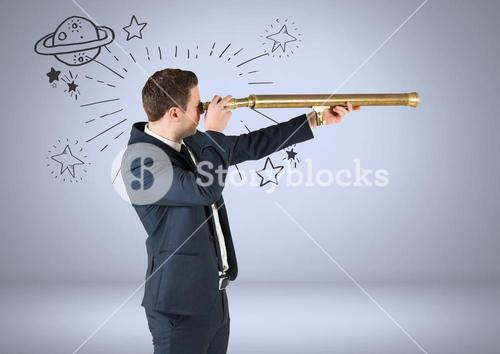Businessman with telescope and planet and stars astronomical graphic drawings
