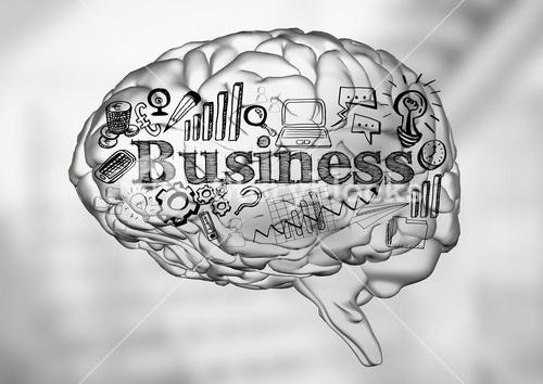 Transparent brain with business doodles against blurry grey stairs