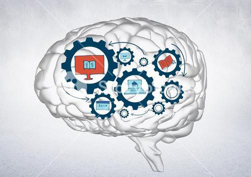 Transparent brain with blue gear graphics against white wall