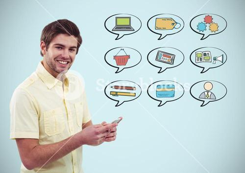 Man with phone and chat bubbles of business graphics drawings