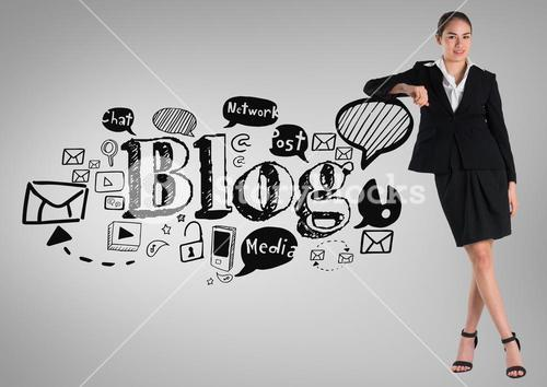 Businesswoman with social media blog graphics drawings