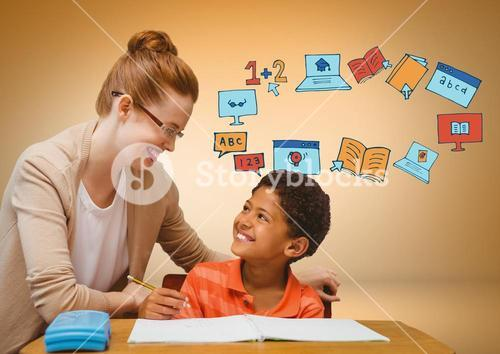 Teacher with child and education graphic drawings