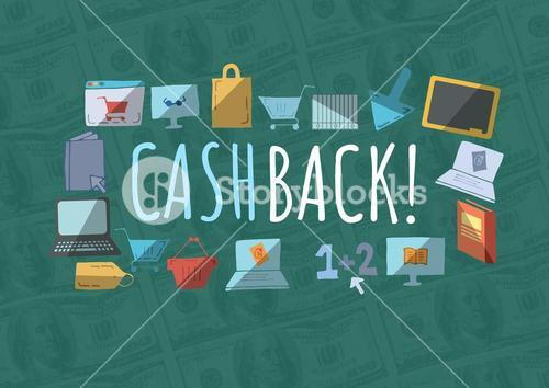 Cashback text with drawings graphics