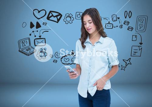 Woman with phone and social media graphics drawings