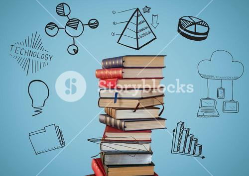 Pile of books with black doodles against blue background