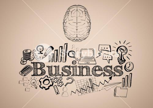 Transparent brain with black business doodles against cream background