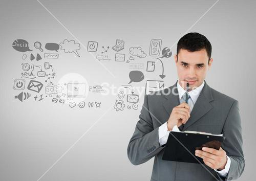 Businessman with social media graphics drawings