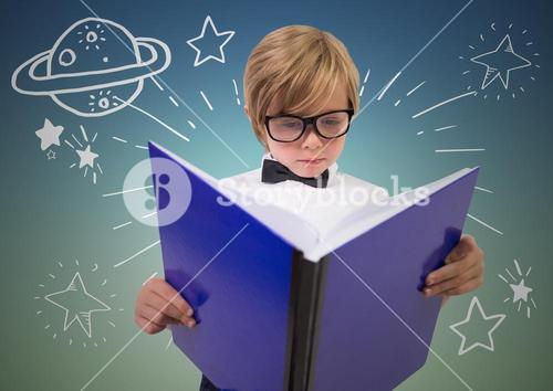Kid with large book and white space doodles against blue green background