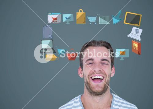 man with online shopping business technology graphics drawings