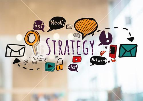 Strategy text with drawings graphics