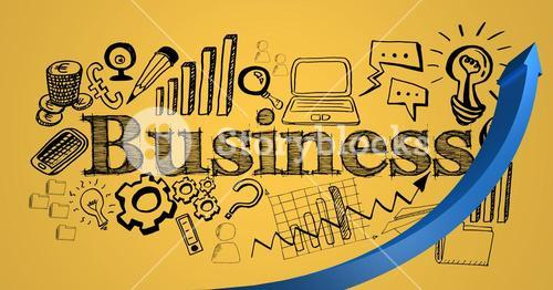 Blue arrow and black business doodles against yellow background