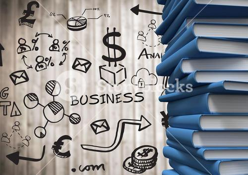 Pile of blue books with black business doodles against blurry wood panel