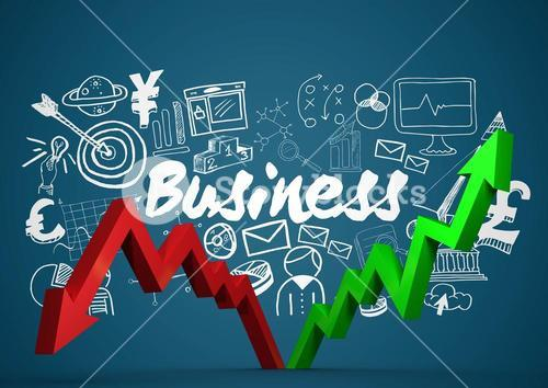 Red and green arrows with white business doodles against blue background