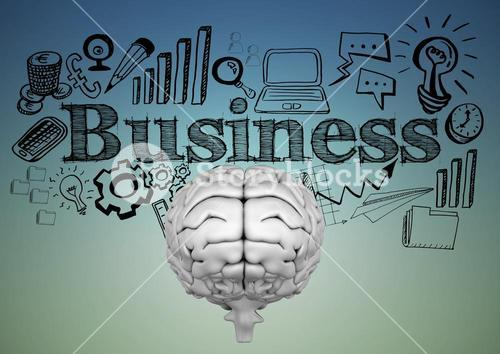 Grey brain with black business doodles against blue green background