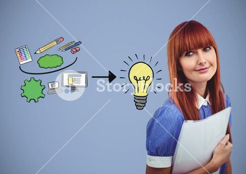 Woman with creative design graphics drawings ideas