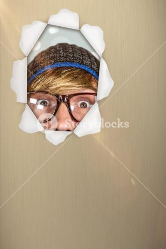Composite image of close up of half face of hipster man 3d