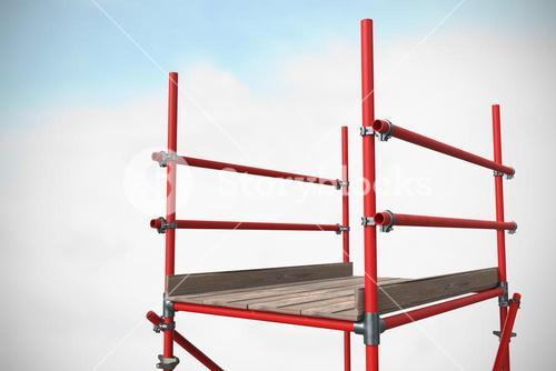 Composite image of three dimension image of red scaffolding 3d