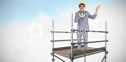 Composite image of architect with hard hat shouting with a megaphone 3d