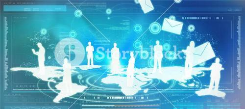 Composite image of email communication background 3d
