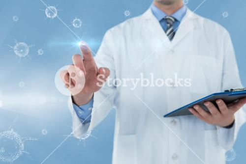 Composite image of doctor holding clipboard while touching transparent interface 3d