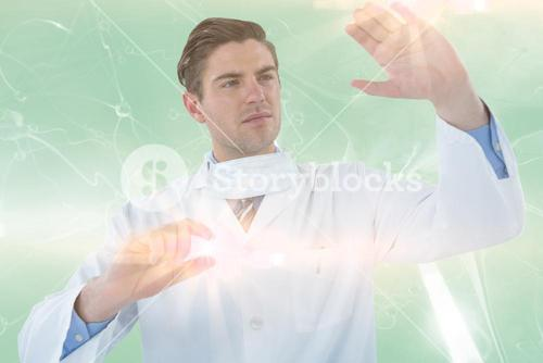 Composite image of doctor pretending to be doing experiment 3d