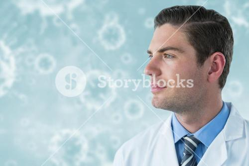 Composite image of thoughtful doctor in labcoat 3d