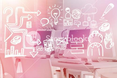 Composite image of business icons against white background 3d