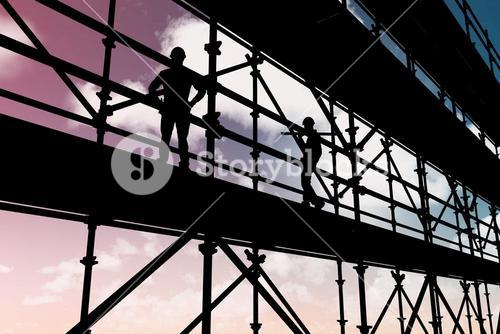 Composite image of smiling worker carrying wooden planks 3d