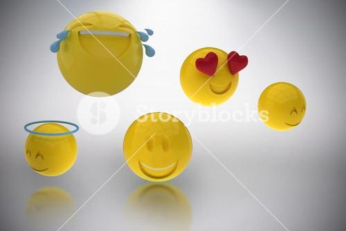 Composite image of three dimensional image of smiling emoticons 3d