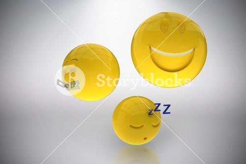 Composite image of three dimensional image of different emoticons 3d