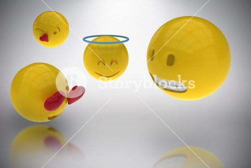 Composite image of three dimensional image of smileys faces reactions 3d
