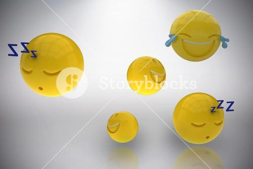 Composite image of three dimensional image of various emoticons 3d