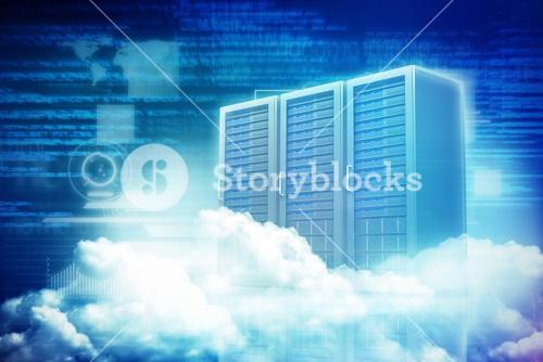 Composite image of scenic view of white fluffy clouds 3d