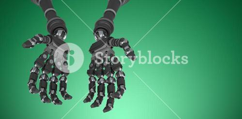 Composite image of composite image of robotic hands against white backgroun