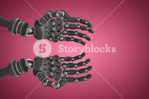 Robotic hands against pink background